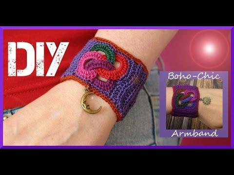 Schmuck häkeln: Boho-Chic Armband - YouTube