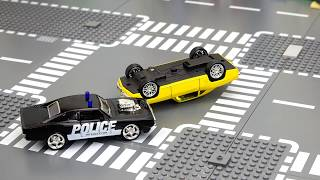Police chase of a violator. Video for kids.