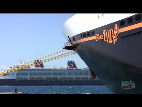 Disney Fantasy & Disney Dream cruise ships meet at Castaway Cay, Disney's private island