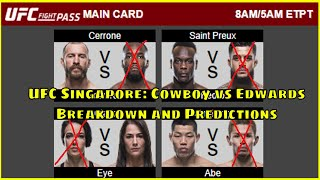 UFC Singapore: Cerrone vs Edwards - Full Fight Card Breakdown and Predictions