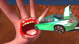BeamNG.drive - Cars Jumping into Hand with MOUTH (Halloween Special)