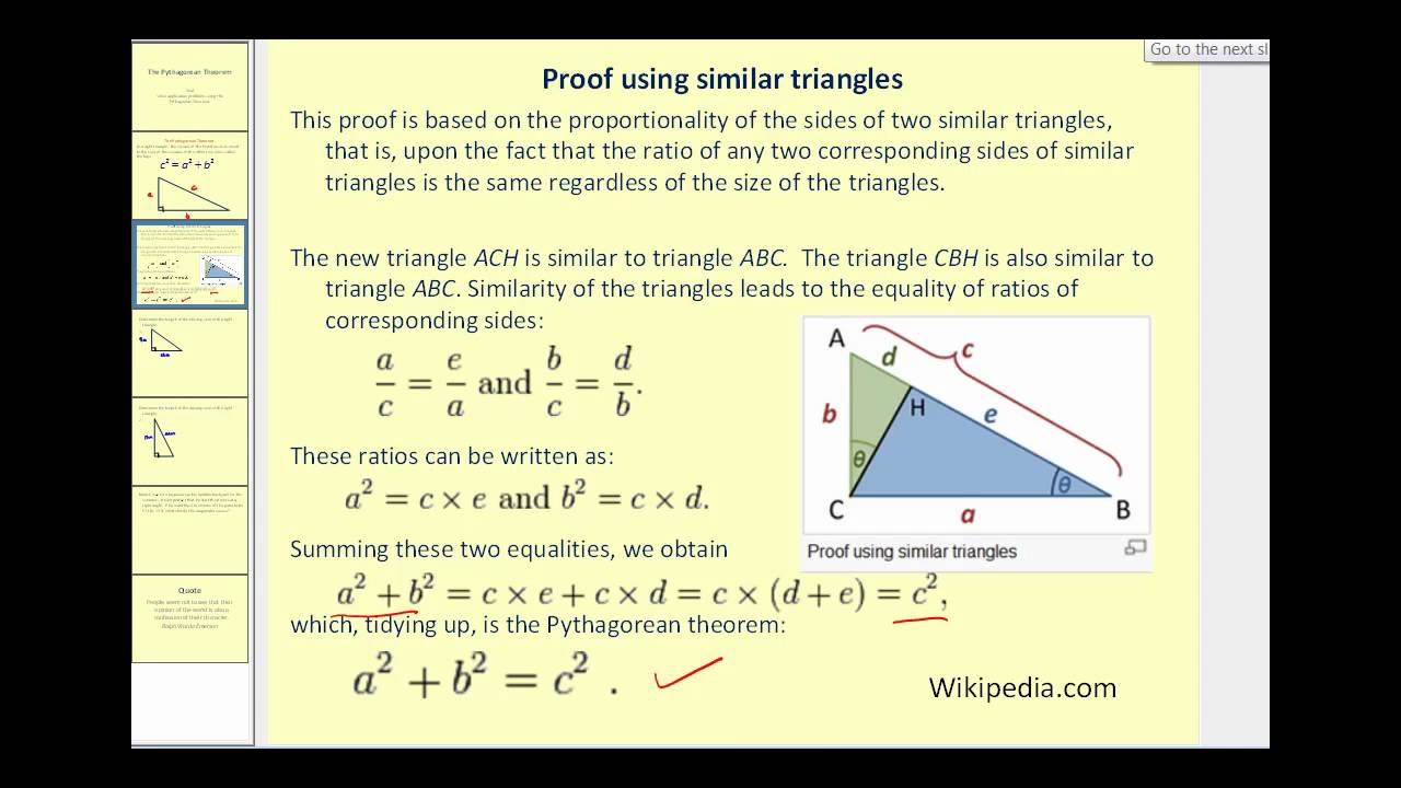 hight resolution of Pythagorean Theorem (video lessons