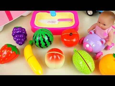 Thumbnail: Fruit vegetable cutting play with Baby Doll and surprise eggs and car toys