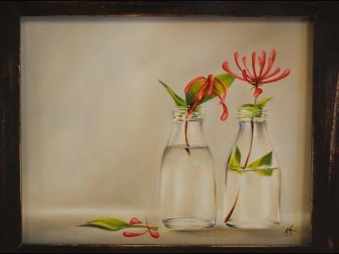 Como pintar al oleo Botellas con flores  Claudia Kunze