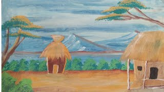A farmer house painting|| beautiful natur scenery painting for beginners