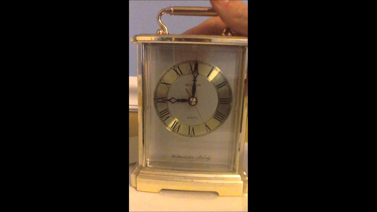 Vintage Bulova Brass Quartz Westminster Melody Miniature