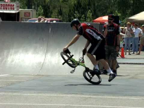 Professional BMX Cyclist performs at the 64th Annual Pine Tree Festival