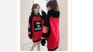 Осеннезимняя одежда повседневный флисовый Свободный Длинный пуловер с длинными рукавами в стиле пэ