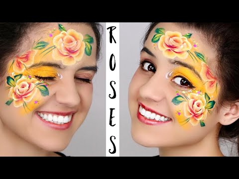 FAST One Stroke ROSES *Autumn or Fall* Face Paint tutorial