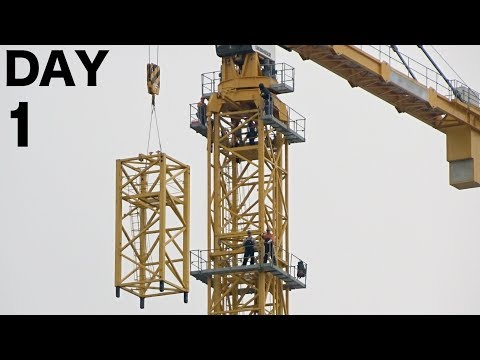 Tower crane disassembly Day 1 of 4: Removal of top segment