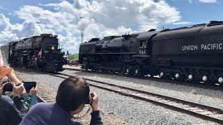 Big Boy, Worlds Largest Steam Locomotive Passing UP 844 !  3 Train Meet!