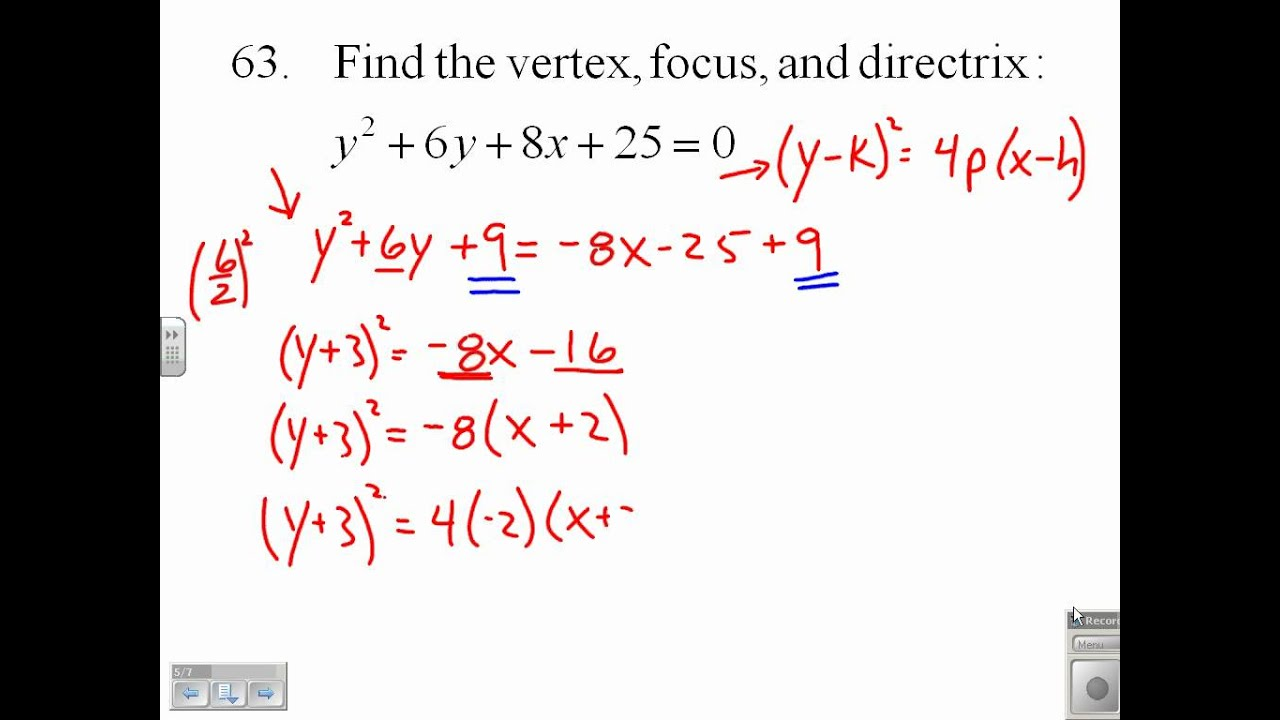 Find the vertex focus and directrix of a parabola 9163 youtube falaconquin