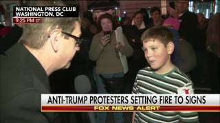 Fire starting boy at Trump protest says