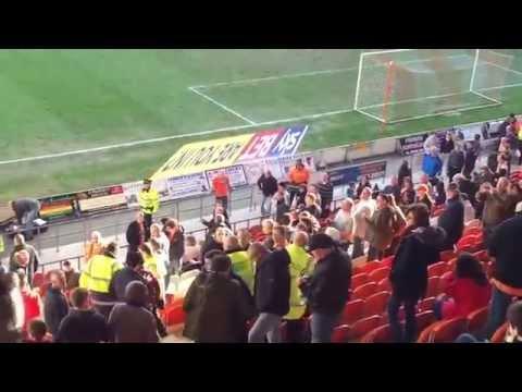 Blackpool FC Football Club fans fighting against Leeds United Football Club fans    Bloomfield Road,