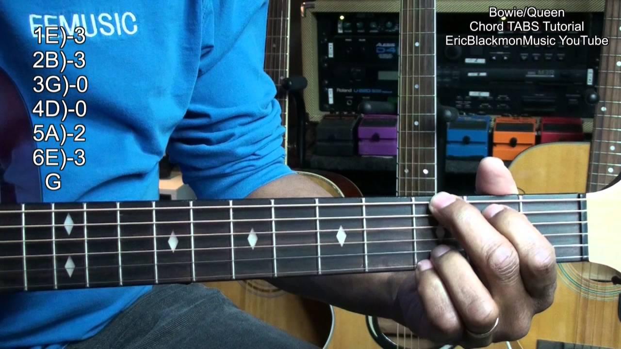 David Bowiequeen Under Pressure Guitar Chord Tabs Tutorial 1