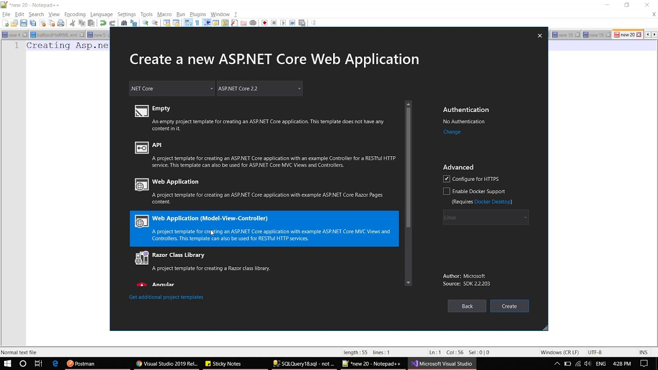 Create ASP net core Web application in visual studio 2019 for beginners  part 1