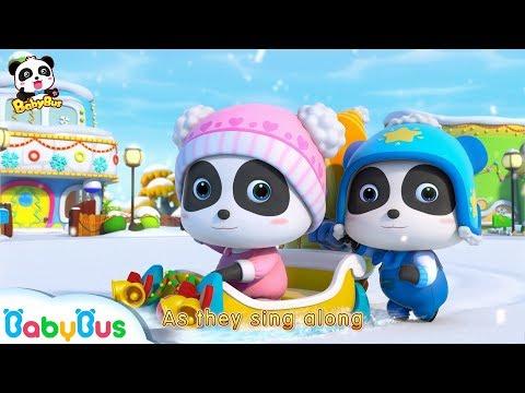 Baby Panda Rides Christmas Sleigh   Snowball Fight, Snowman, Flurry    Christmas Story   BabyBus