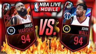 nba live mobile   james harden vs john wall gameplay who is the better quarterfinal playoff master