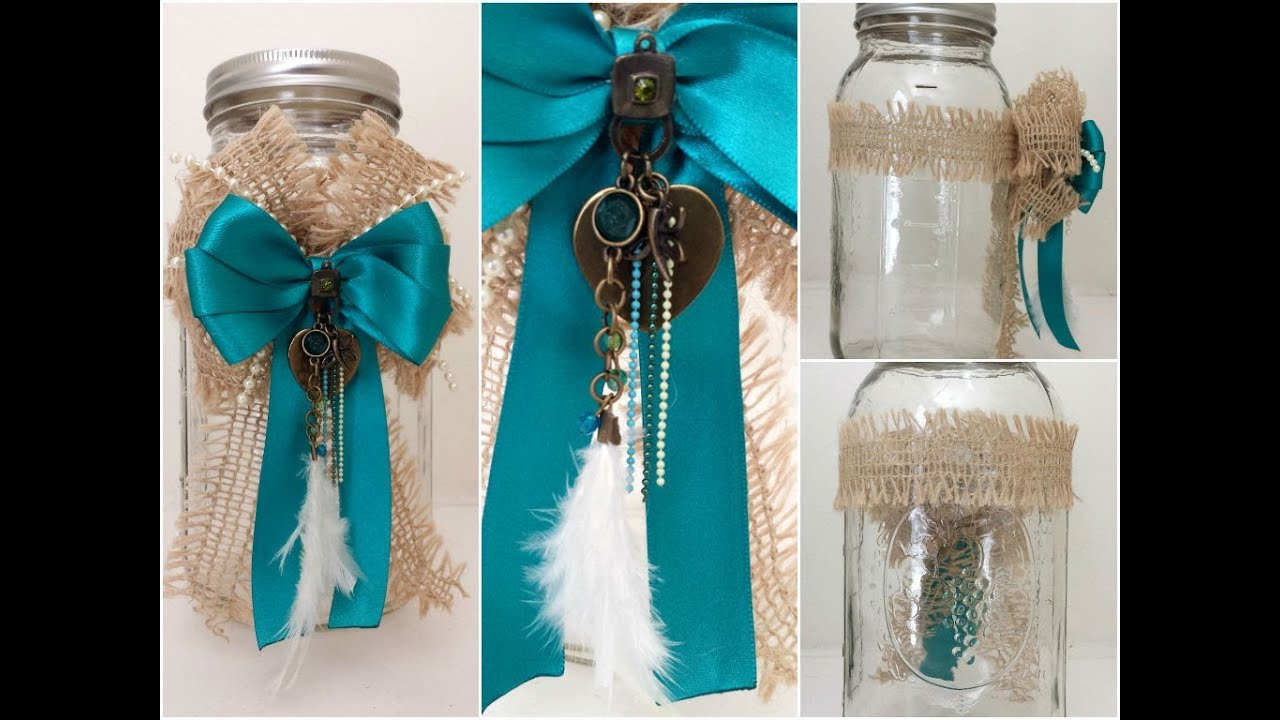 Diy how to decorate a mason jar youtube for How to decorate