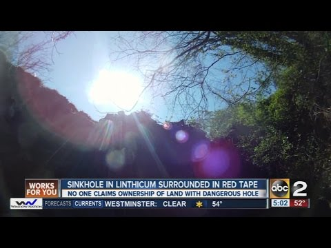 Massive sinkhole opens up in Linthicum, land ownership at issue