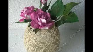 Diy: Vaso de flor ou luminária com barbante.