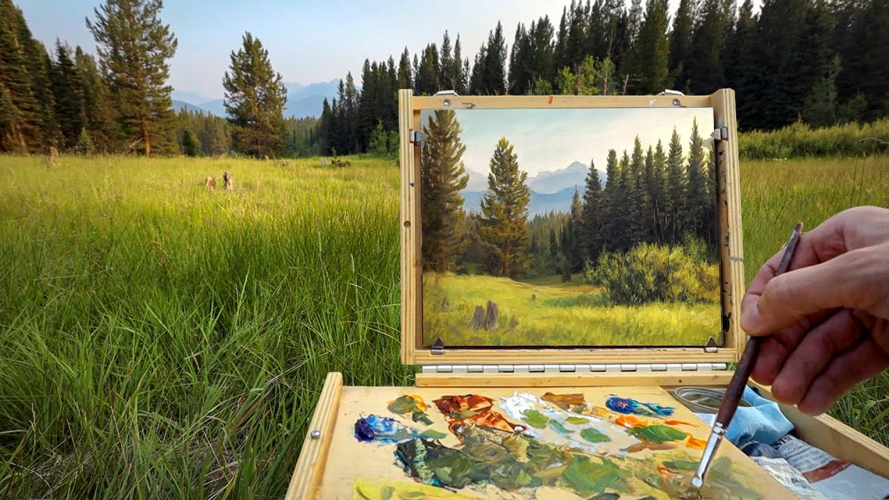 Painting En Plein Air - A Hazy Day in the Mountains
