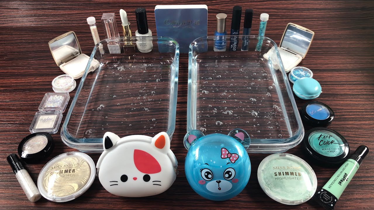BLUE vs WHITE - Mixing Makeup Eyeshadow Into Clear Slime!