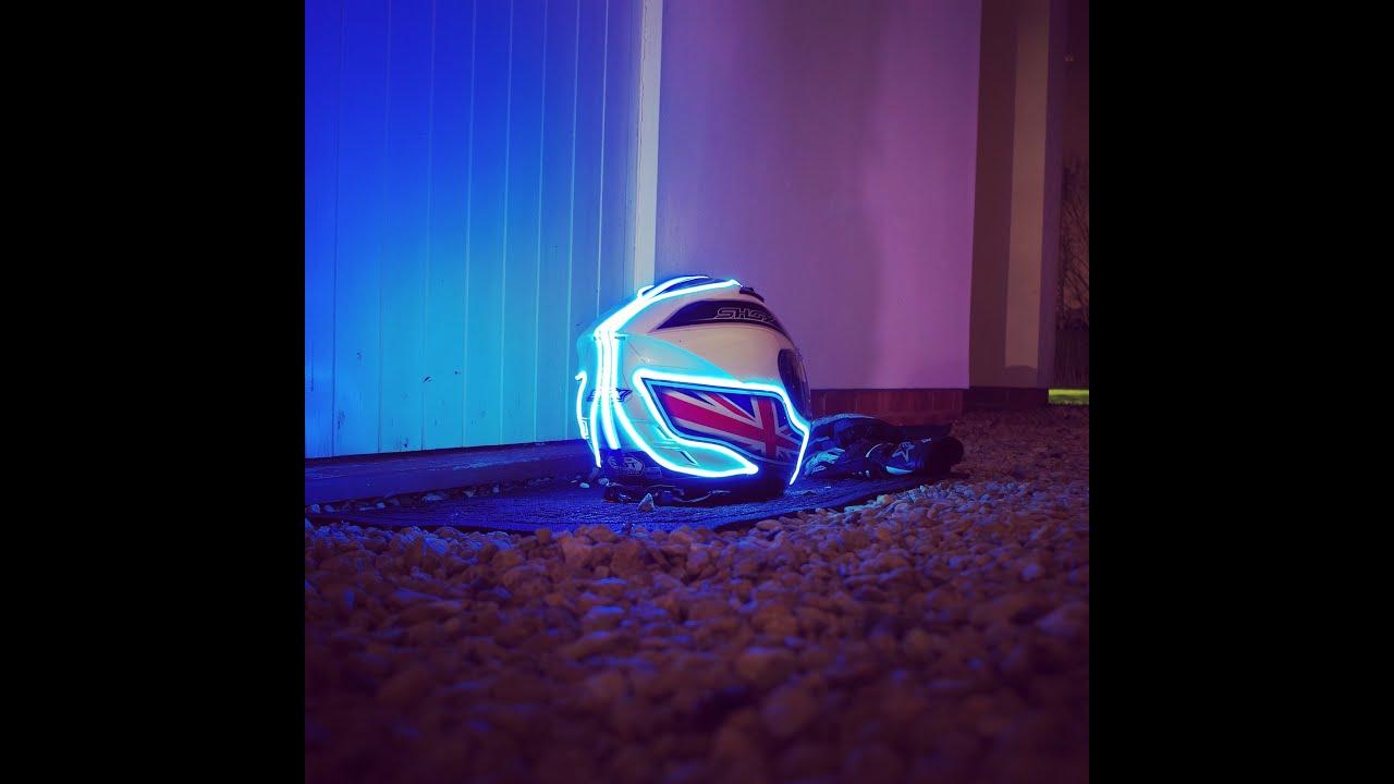 My helmet project- EL wire - YouTube