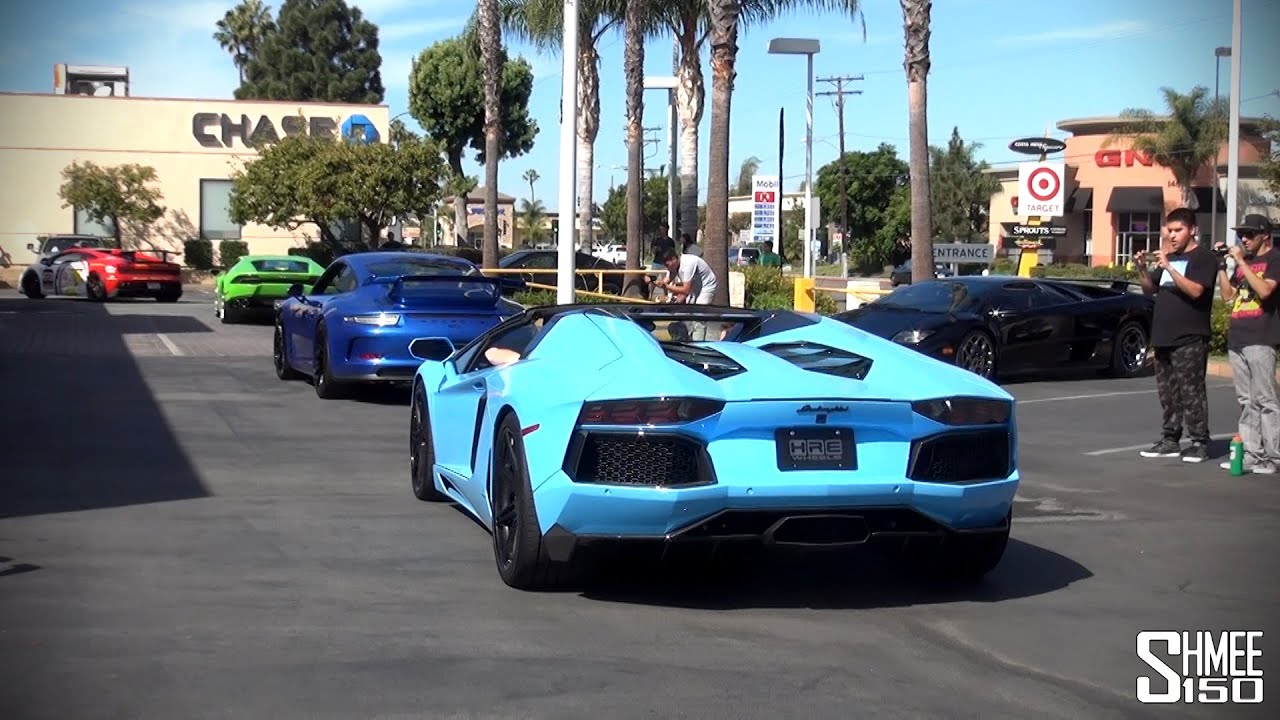 Two McLaren P1s, Many Aventadors   Supercars At Lambo Newport Beach    YouTube