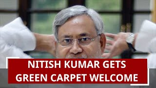 Bihar CM Nitish Kumar gets green carpet welcome in flood-hit village of Darbhanga