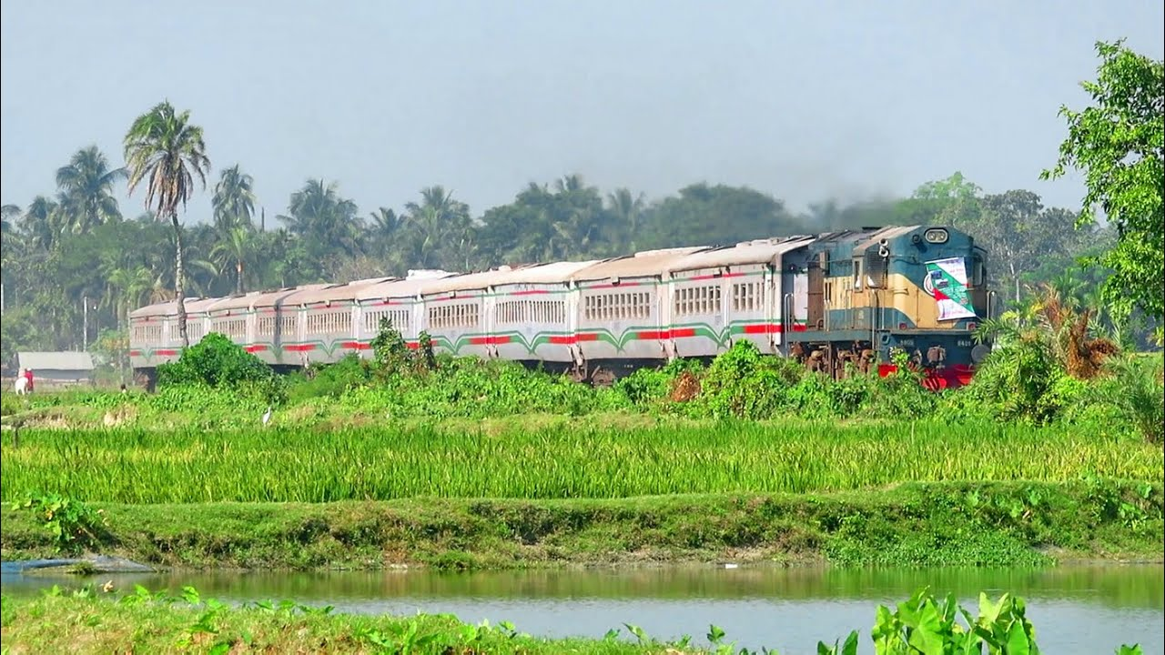 Metal made white snake Train Intercity Rupsha Express near Jessore Railway Junction