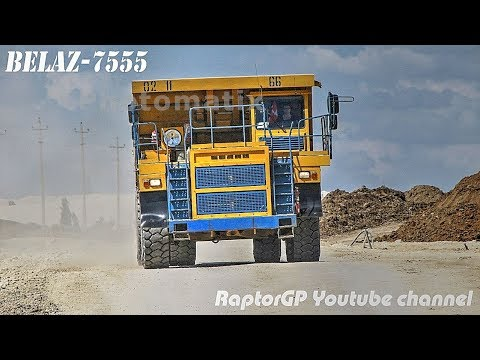 BELAZ-7555 haul trucks carry overburden with nice diesel growling
