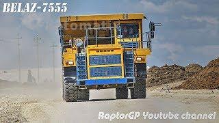 BELAZ-7555 haul trucks carry overburden with nice diesel growling