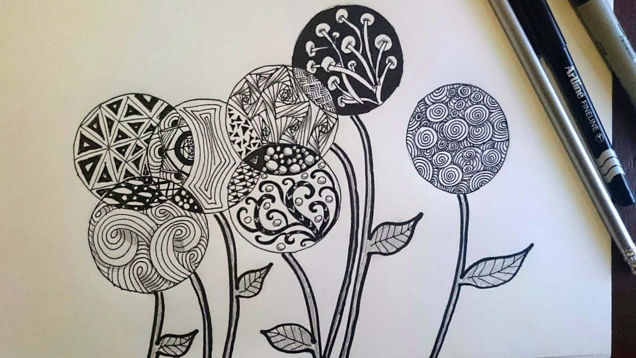 Zentangle inspired flowers zendoodle art beginner youtube