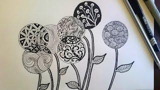 zendoodle zentangle doodle flowers drawing inspired beginner zen easy flower patterns zentangles doodles quick