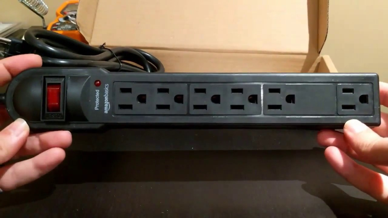 Unboxing amazon basics 6 outlet surge protector power strip 790 joule