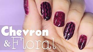 Chevron & Floral Nail Art Tutorial   Haul Ft. Bornprettystore // Color Changing Nail Art At Home
