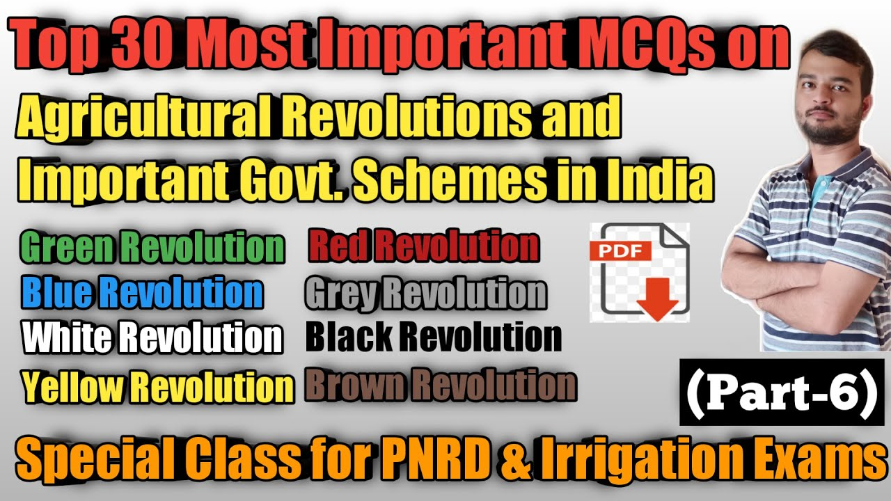 Top 30 MCQs on Agricultural Revolutions in India    PNRD & Irrigation  Exam Spl Class-6  