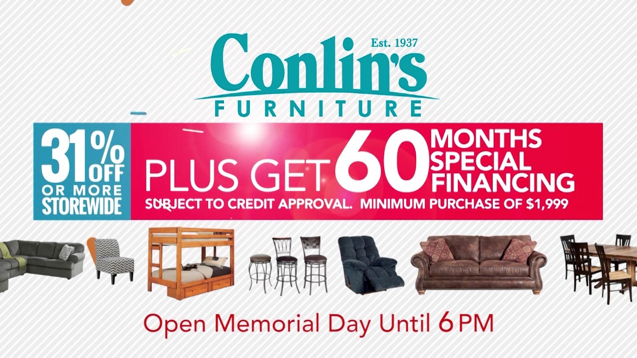Conlin S Furniture Memorial Day Sale May 2017 Youtube