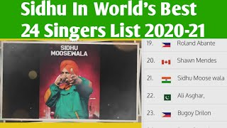 Sidhu In 24 World Best Male Singer List  2020-21... Sidhu Proud For India 🇮🇳