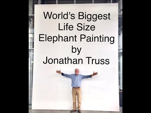 World's Biggest Life Size Elephant Painting by Jonathan Truss