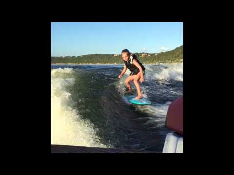 Sierra Kerr wakesurfing girl age 8 video. Surfer Josh Kerr daughter wakesurfing Tige Boats video