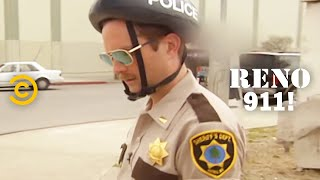 Literally One Hour of Lt. Dangle Trying to Get His Bike Off a Lamppost - RENO 911!