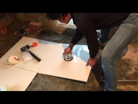 Floor Tile Installation Process - 60x60 cm Polished Tiles Part 3 (左官)
