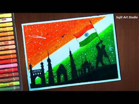 Independence Day Drawing (Very Easy) With Oil Pastels For Beginners - Step By Step
