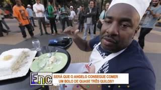Encrenca: Angelo cai de boca em bolo para vencer aposta