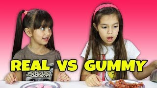 Real Food vs Gummy Food Challenge - Super Gross Real Food - Kids React - Candy Challenge