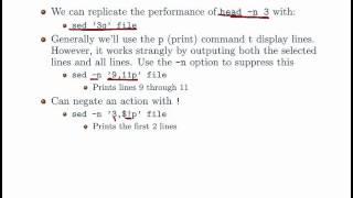 Basic UNIX Commands - sed