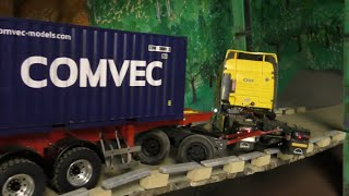 RC CONSTRUCTION SITE! RC CONTAINER TRAILER CRASH! HEAVY RC ACCIDENT