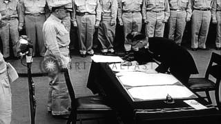 Signing of the surrender note aboard the USS Missouri after the surrender of Japa...HD Stock Footage